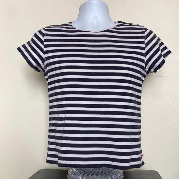 Anne Klein Vintage Stripped Slight Crop T Shirt